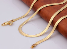 18k gold plated flat snake chain necklace for men fashion luxury jewelry drop shipping oem cheap 22inch man necklace wholesale(China (Mainland))