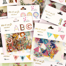 1 pack X color Figure Letter paper sticker bag diy album scrapbooking post it sticker kawaii stationery toy for kids(China (Mainland))