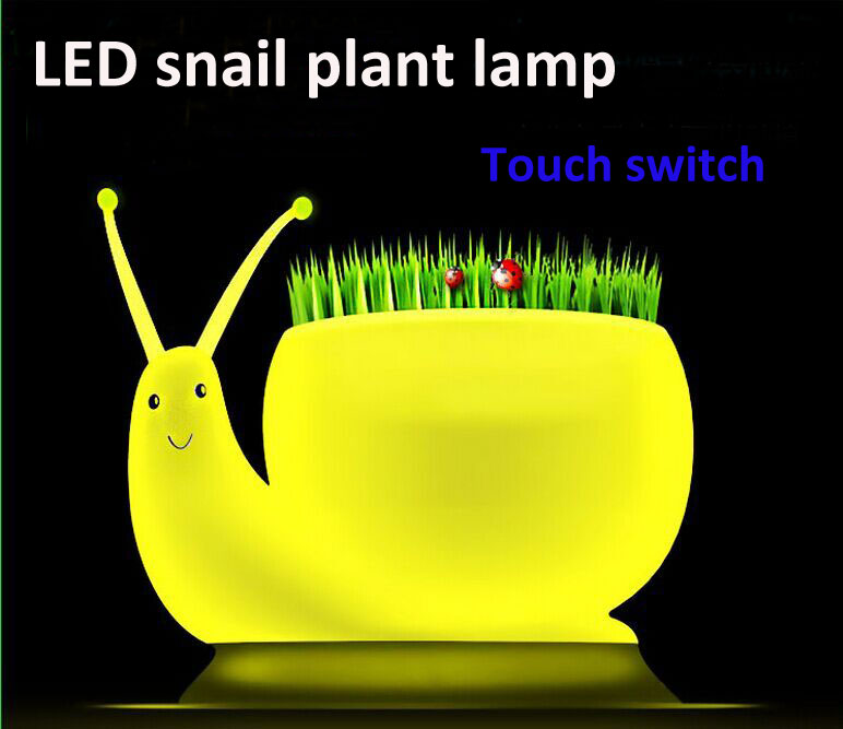 Novelty USB DIY Planting Snail LED Touch Table Lamp Desk Lights 3D Led Night Light LED Ecological lamp for plant grow best gift(China (Mainland))