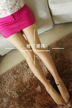 15$ Mini Order Free Shipping Catgirl letter print skin color thin Core-spun Yarn socks pantyhose