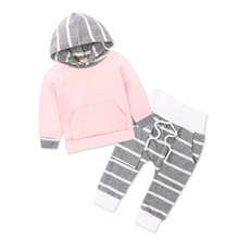 2017 New Autumn Boy's Girl's Clothing Sets Sport Pullover Set Fashion Kid 2pic Suits Set Toddler Striped Tracksuit (China)