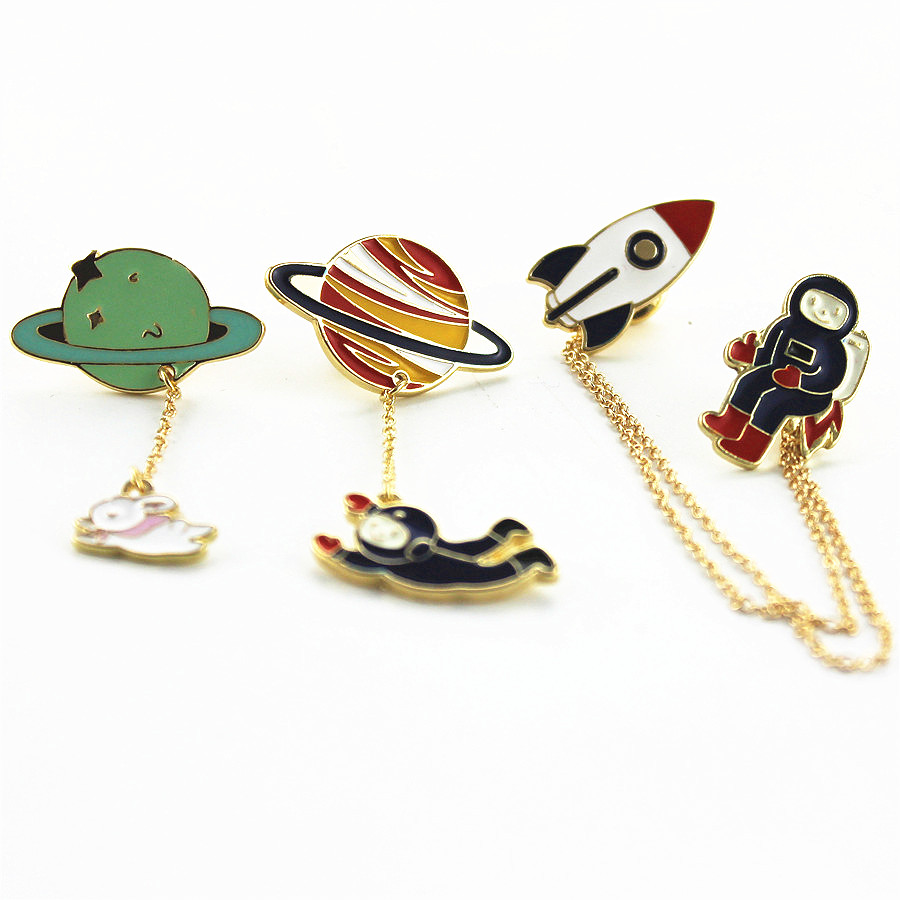 Fashion new style three style astronauts/earth/rabbit girl enamel animal planet brooches women badges clothes pins wholesale(China (Mainland))
