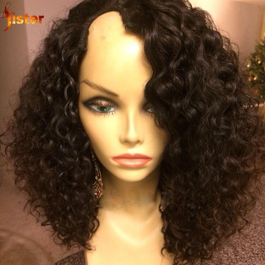 Unprocessed Human Hair U Part Wig Virgin Brazilian Hair U Part Wig Deep Wave Cheap U Part Bob Curly Wig Right/Left/Middle Part<br><br>Aliexpress