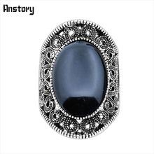 Полые Цветок Овальный Камень Кольца Винтажный Вид Античная Посеребренная Ювелирные Изделия TR410(China (Mainland))