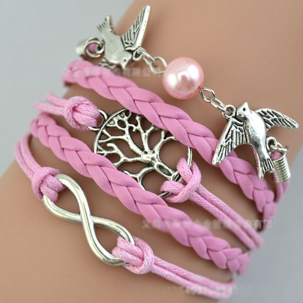 2014 New Handmade Bracelet Swan Charms Tree Bracelet Pink Pearl Leather Braclet. Best Couple Gift FB2013332(China (Mainland))