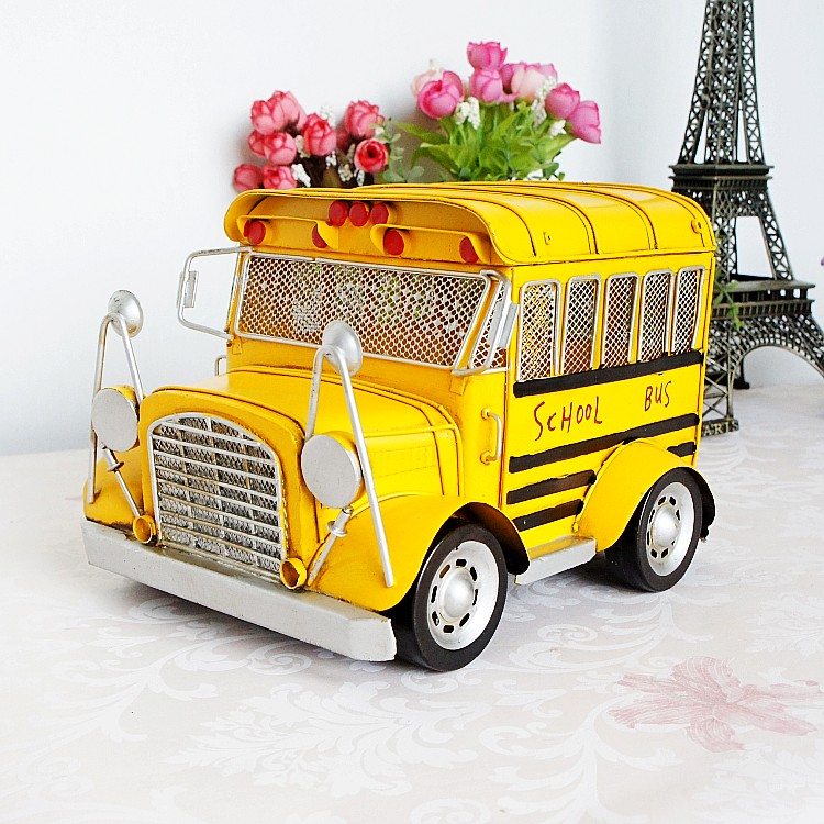 Handmade vintage metal classic cars model iron car Metal school bus model birthday gift home/shop decoration(China (Mainland))