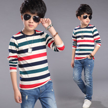 Fashion Long Sleeve Stripe T-shirt Baby Kids Boy T Shirt Summer Red White Spring 2016 Children's Coat Cotton T-shirt fro Boys