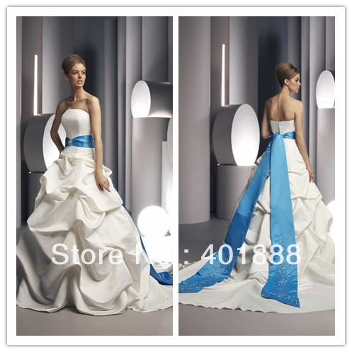 2013 hot taffeta ball gown strapless royal blue and white