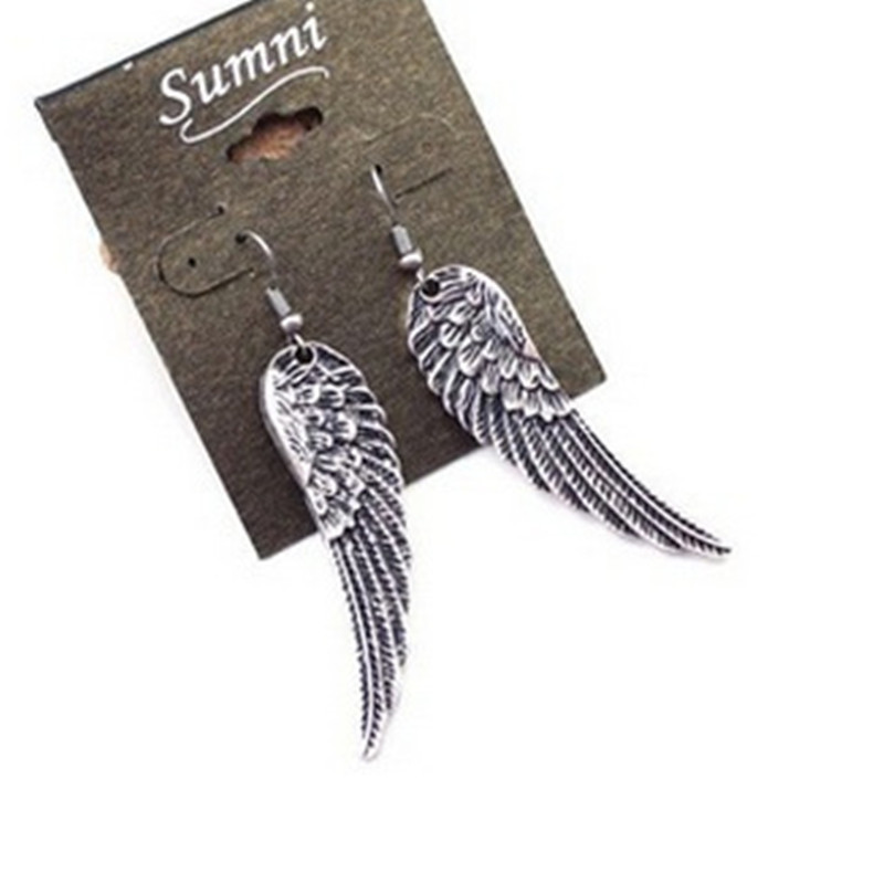 European And American Retro Angel Wings Earrings Exaggerated Alloy Silver Plated Earrings-E300