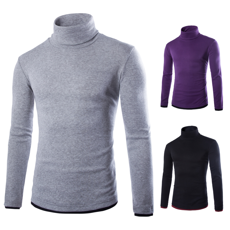 2015 New Basic Style Men's Sweaters Turtleneck Knit Pullover Autumn Slim Fit Elastic Pull Homme Patterns Solid Mens Sweater 796(China (Mainland))