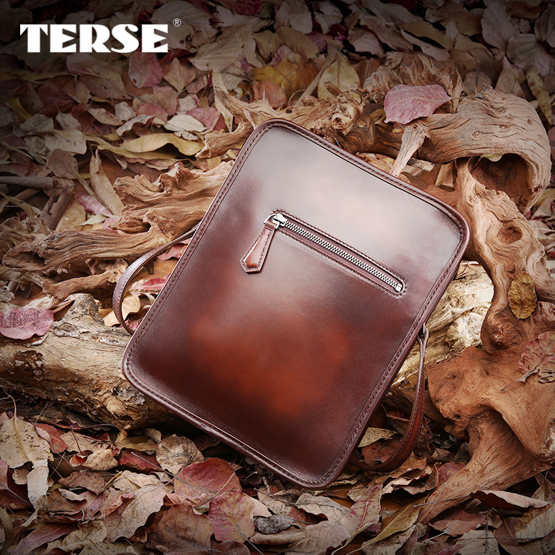 TERSE_Handmade fashion messager bag crossbody for men business casual solid genuine leather bag sample support(China (Mainland))