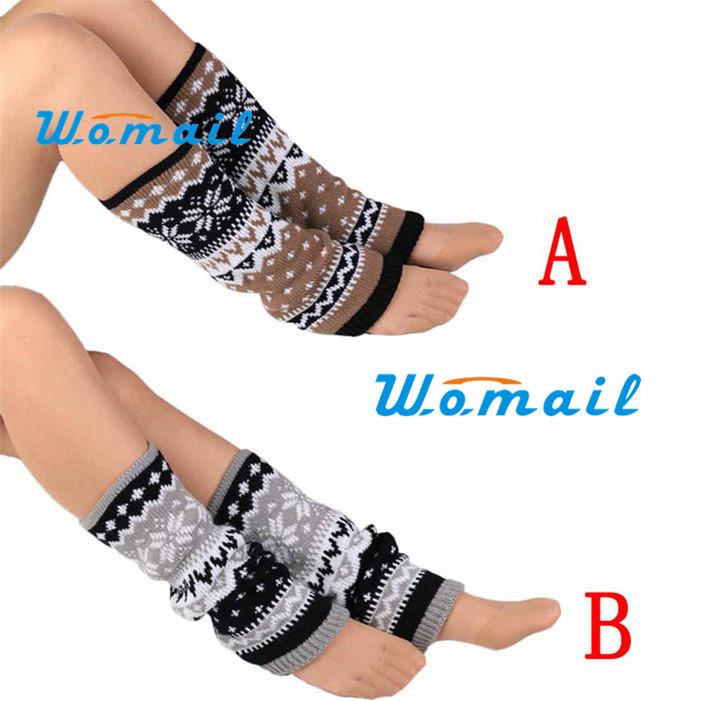Stylish Fashion Women Knitting Snowflake Shape Footless Knee Socks Leg Warmers New boot cover