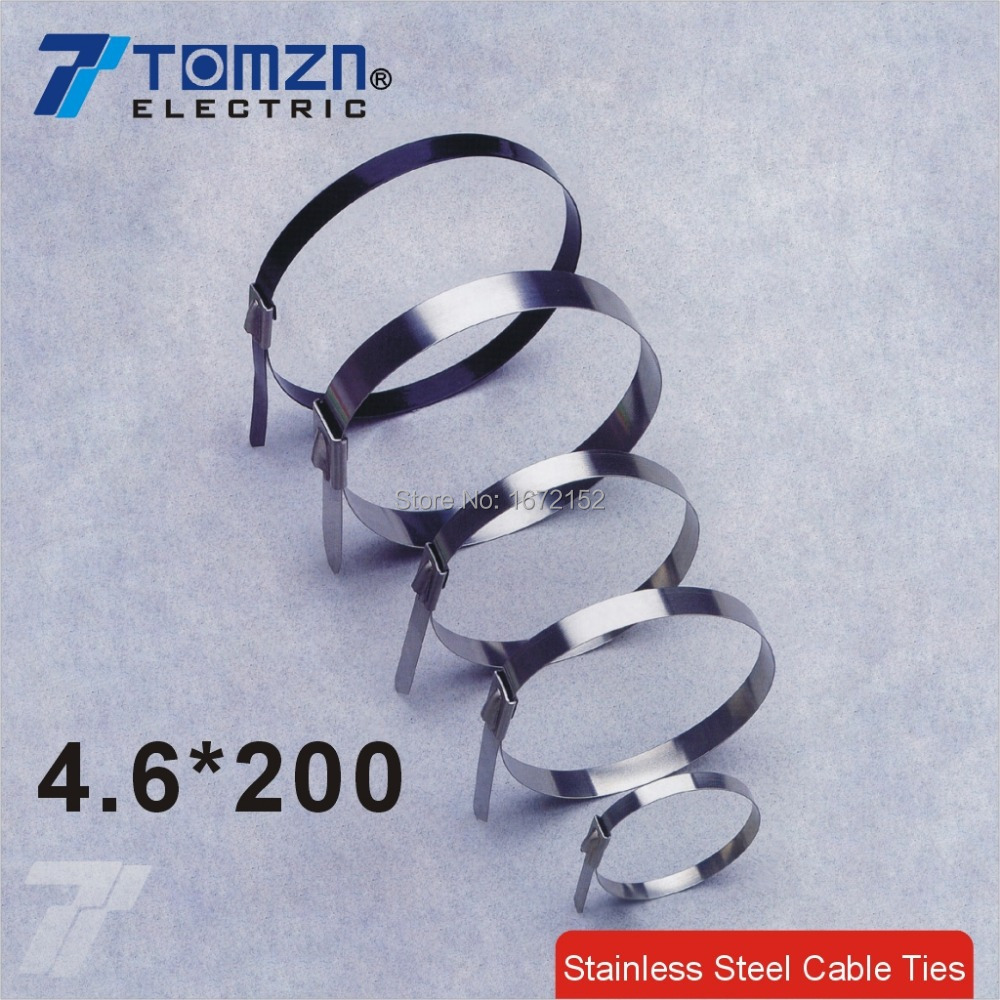 100pcs 4.6mmx200mm STAINLESS STEEL ZIP CABLE TIES LOCK TIE WRAP(China (Mainland))