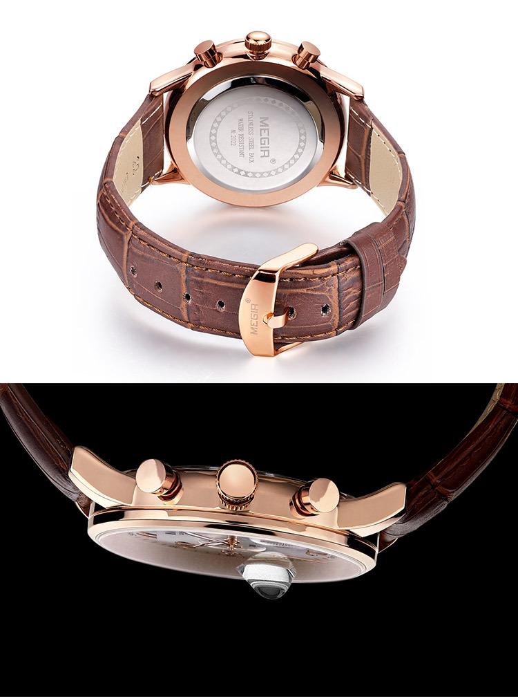 MEGIR роскошные военная хронограф кварцевые часы мужчины мода повседневная аналоговый кожа наручные часы водонепроницаемые relogio masculino