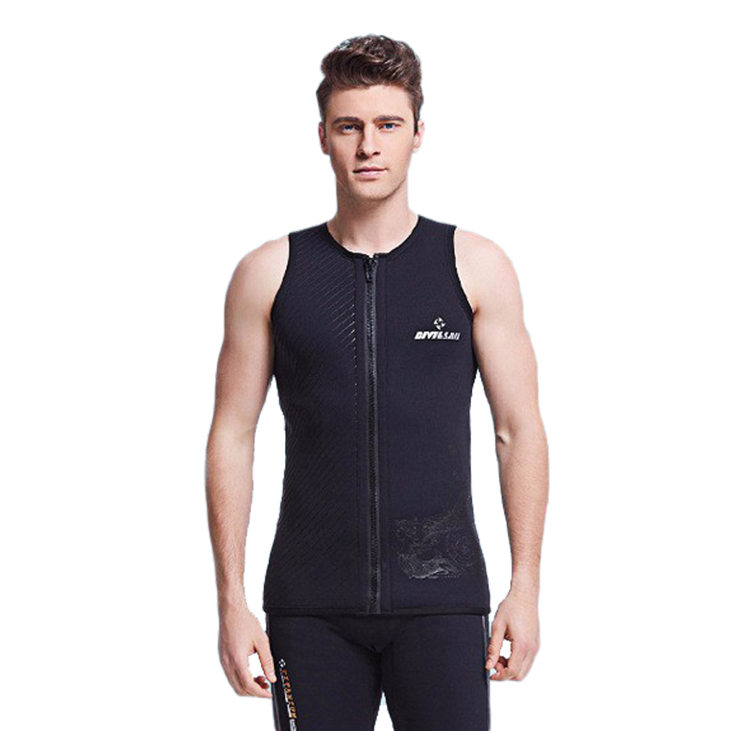 3mm Neoprene Mens Wetsuits Top Premium Sleeveless Wetsuit Jumpsuit Vest for Scuba Diving Surfing Snorkeling Black