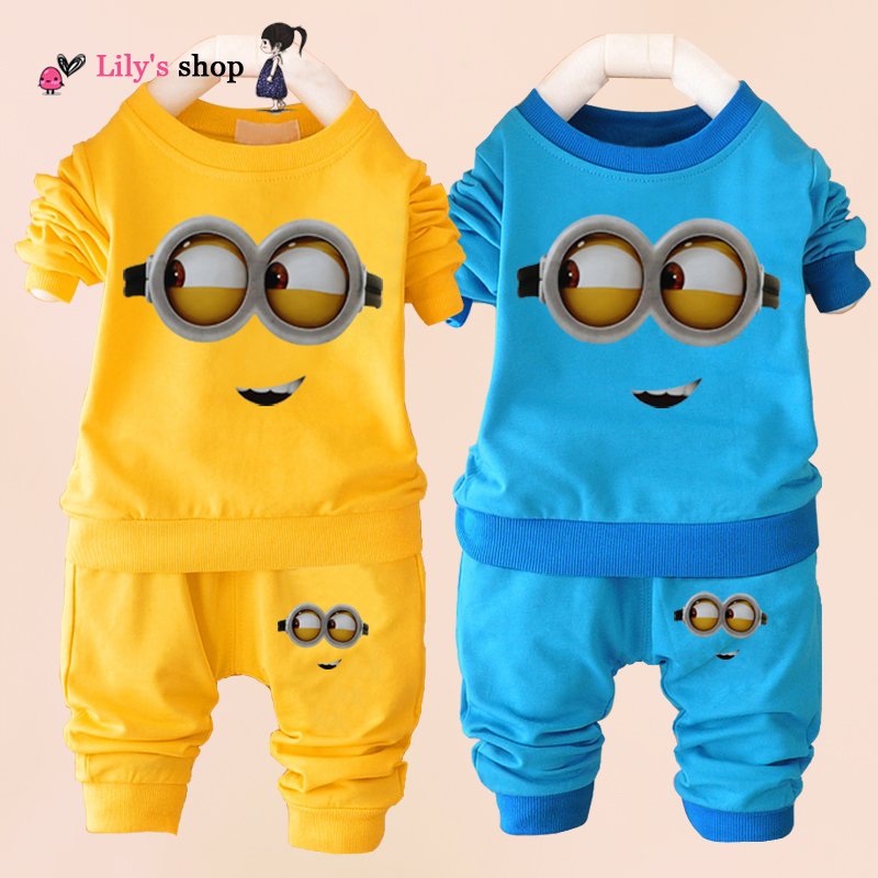 Wholesale price baby boys clohing set 10-24 months children clothing sets despicable me minion kids clothes toddler girl sets(China (Mainland))