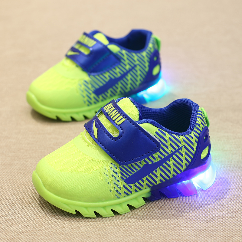 kids shoes with light 2016 spring baby boys girls shoes chaussure led enfant child fashion breathable boys sneakers EU22-26(China (Mainland))