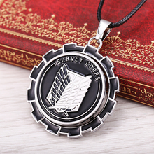 2015 new Anime Attack on Titan Logo  Necklace & Pendant Modern Rotatable Zinc Alloy charm necklaces Rope  Chain Men's Jewelry