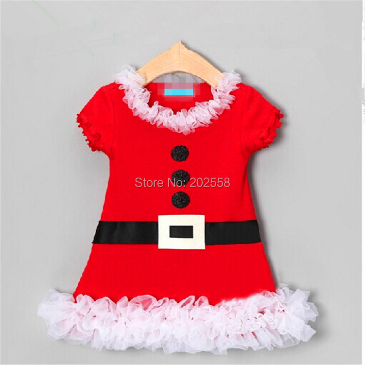 2016 girls baby children Christmas dress kids santa clothes girls short sleeved dress with white lace(China (Mainland))