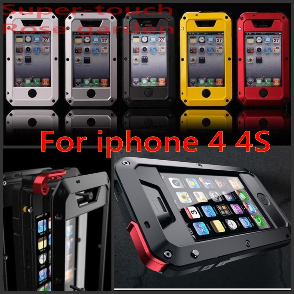 Original Waterproof Dirt Shockproof With Rugged Tempered Gorilla Glass Aluminum Metal Case For iphone 4s 4 Case Cover(China (Mainland))