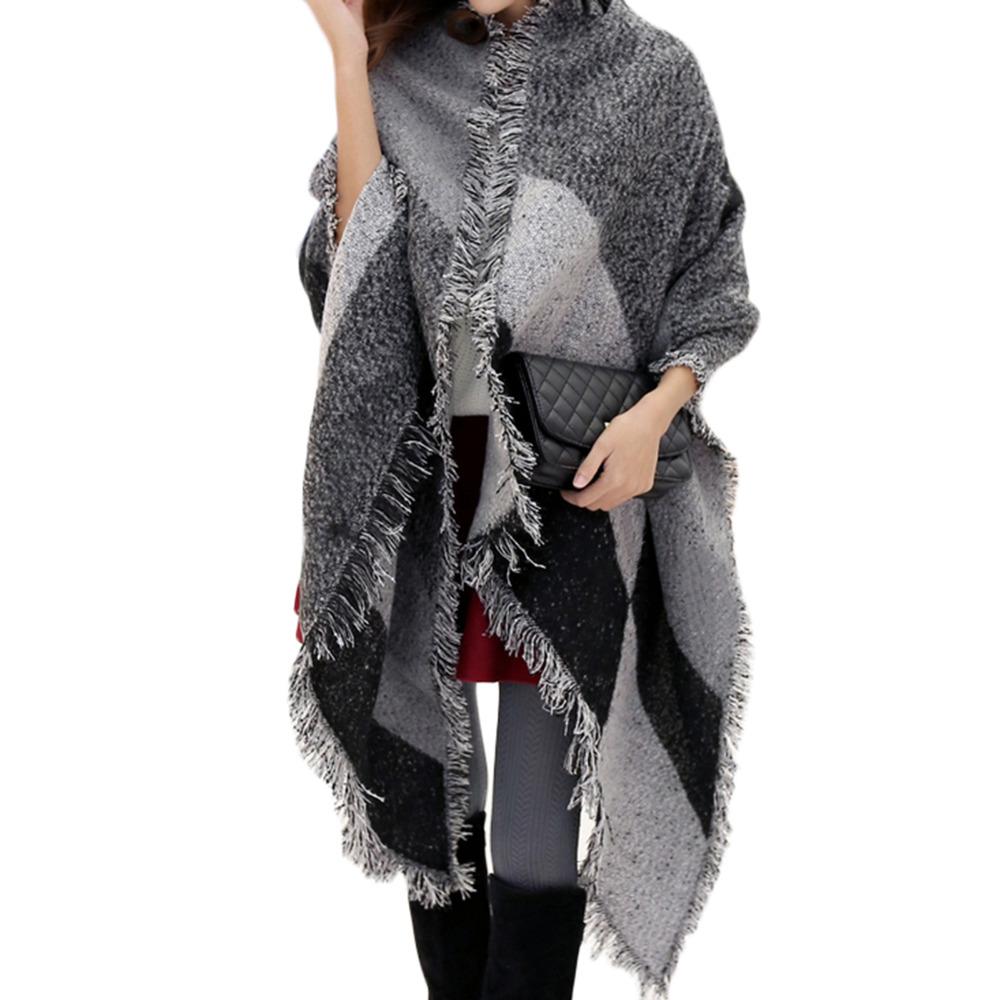 New fashion font b tartan b font plaid cashmere scarf for women blanket scarf with tassel