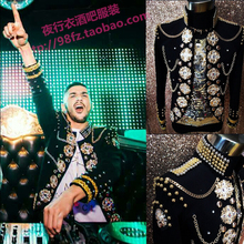 European American stars same style stage bar DJ male vocalist lead dancer costumes men's fashion jacket(China (Mainland))