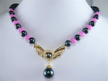 free shipping jade Freshwater pearl pendant Necklace lowest fashion jewelry #076(China (Mainland))
