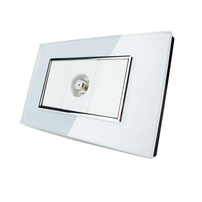 Crystal Glass Satellite TV Wall Socket, Fashion US/AU Standard Socket, Home Wall Socket, Free Shipping(China (Mainland))