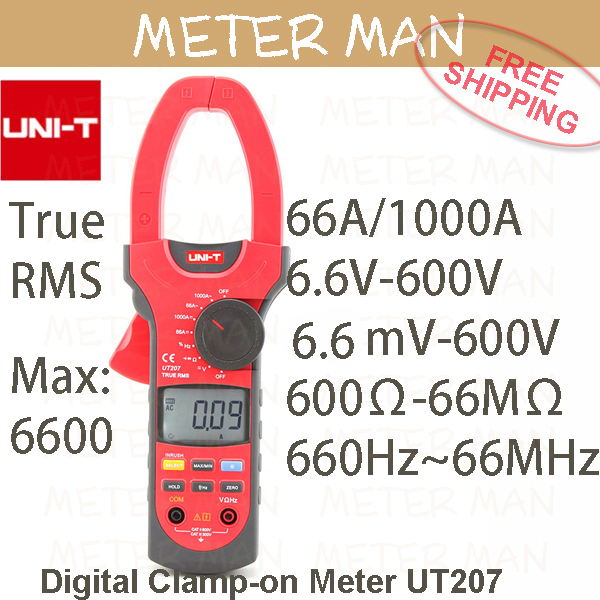 True RMS Professional Brand New Auto Range 6600 Counts Resistance Frequency Digital Clamp On Meter UT207(China (Mainland))