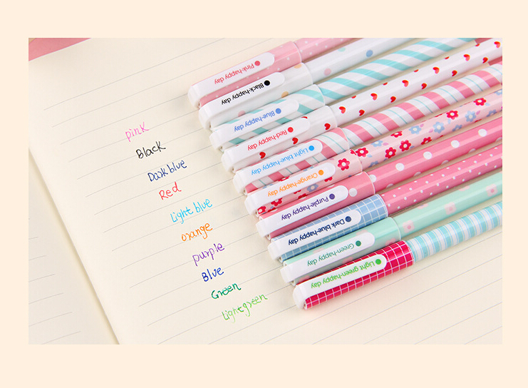 Гаджет  Pack of 10pcs Cute Flower Colorful Gel Pen Set Kawaii Korean Stationery Creative Gift School Supplies None Офисные и Школьные принадлежности