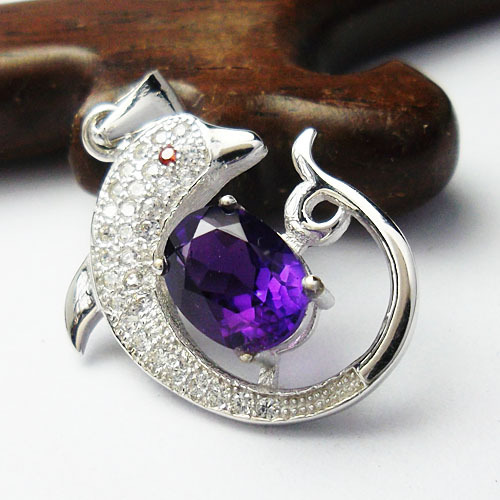 Fashion dolphin amethyst pendant woman,necklace 925 silver jewelry, free chain - CoLife Jewelry store