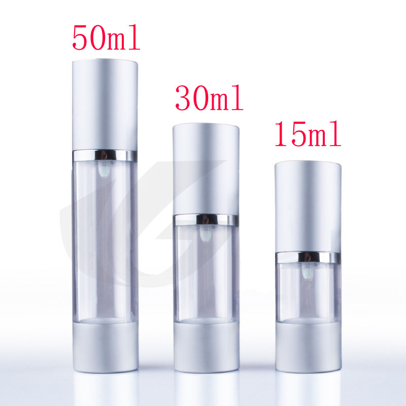 30ml X 20 luxury silver airless vacuum pump cosmetic containers aluminum ,1oz travel size lotion cream airless pump bottles(China (Mainland))