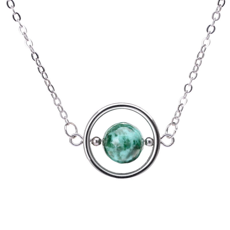 MiaoLan Planet Saturn Necklace Silver Plated Natural Stone Pendant Necklaces Greek Moon Space Jasper Necklaces For Women(China (Mainland))