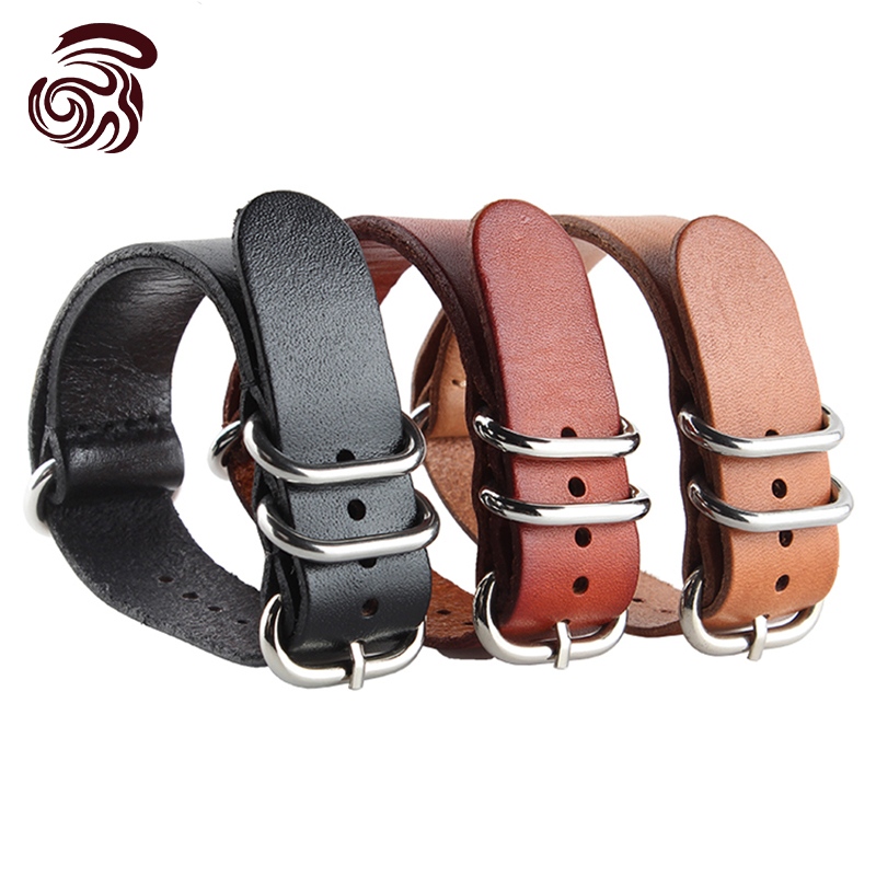 20mm Black Brown Khaki New Men Design Genuine Leather Deployant Bracelet Strap Watch Band(China (Mainland))
