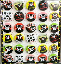 Kumamon 4.3 CM 30 pieces/lot set PIN BADGES new Cartoon& animation PIN back BUTTONS PARTY BAG GIFT CLOTH