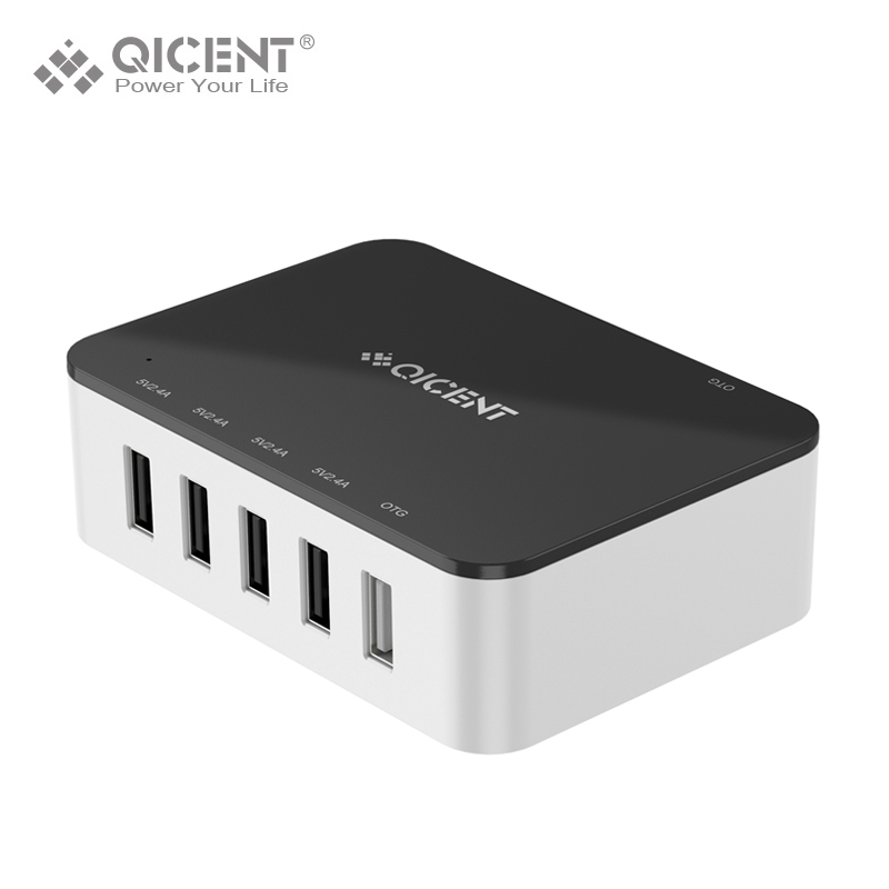 QICENT 39W 5 Port USB Charger,Multi Charger with OGT Port for iPhone 7 7Plus iPad Samsung LG Detachable Cable(China (Mainland))