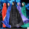 Free Shipping Adult Witch Long Green Red Blue Black Halloween Cloaks Hood and Capes Halloween Costumes