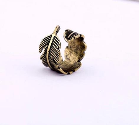 Простой листва перо листьев старинные сплав цинка открытие регулируемый размер кольца ...