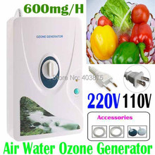 Home sterilizer 220V 110V 600mg/h Ozone Generator Ozonator ionizer O3 Timer Air Purifiers Oil Vegetable Meat Fresh Purify Water(China (Mainland))