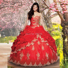 vestidos debutantes de 15 Red Ball Gown Quinceanera Dresses with Gold Appliqued Lace Sweetheart Puffy Princess Prom Dresses(China (Mainland))