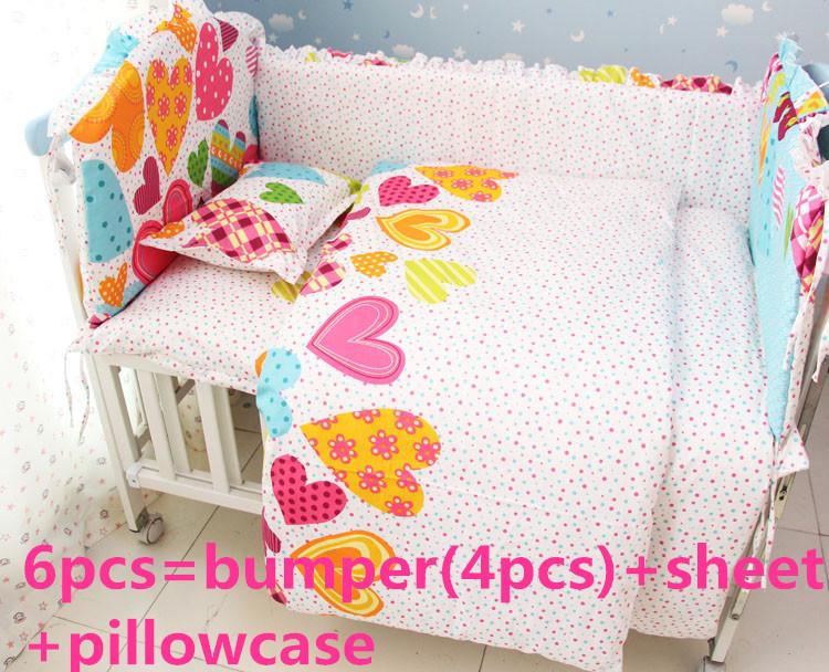 Promotion! 6PCS Crib bedding Garden Baby Crib Nursery Bedding Set (bumper+sheet+pillow cover)<br><br>Aliexpress