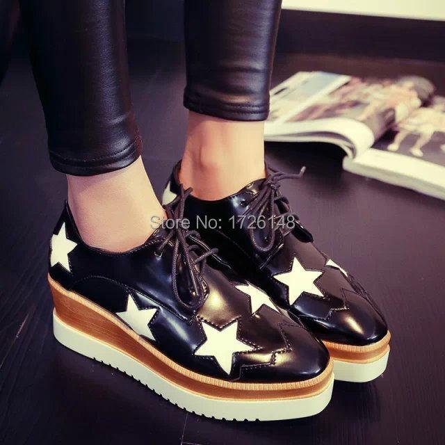 Freeshipping brand 2015 Stella m pointed toe shoes platform platform lacing single shoes(China (Mainland))