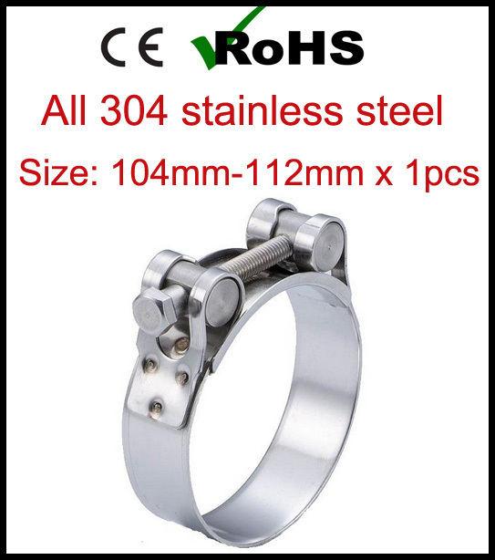 Гаджет  104mm-112mm x 1pcs Single Bolt Heavy Duty Hose Pipe Clamp 304 Stainless Steel Strong Force High Pressure Robust Tube Clips None Аппаратные средства