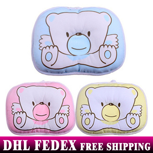 200pcs/lot Wholesale Hot selling Infant bedding print bear oval shape 100% cotton baby shaping pillow high quality(China (Mainland))