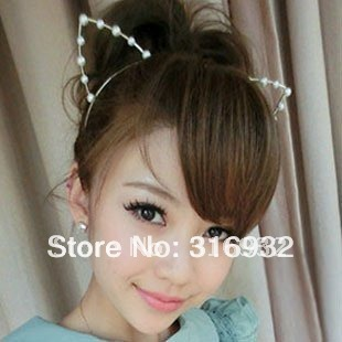 M7 Free shipping new design cute cat ears shaped party Hair hoop, Hair Accessories, pearl or diamond hair band mix shipping