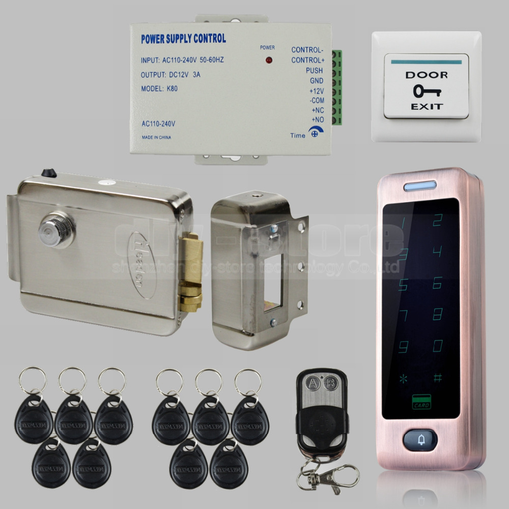 DIY Electric Lock RFID Reader Touch Panel Password Keypad Door Access Control Security System Kit C40(China (Mainland))