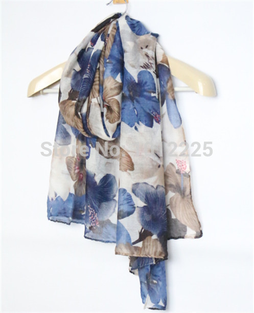 2016 women new flower shawl fashion floral scarves muslim headwear pretty design wholesale Free Shipping Independent packing(China (Mainland))