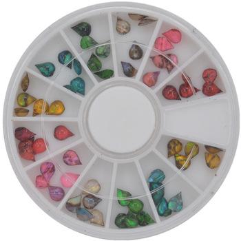 1 Wheel 60pcs 4 x 5mm Water-Drop Shape Japan Styles Shell Stone For DIY Nails Art Accessory Fashion Decorations Beauty Tools