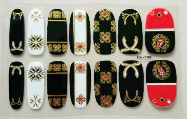foil gold new fashion punk bronzing decal manicure stamping nail stickers, nail art(China (Mainland))