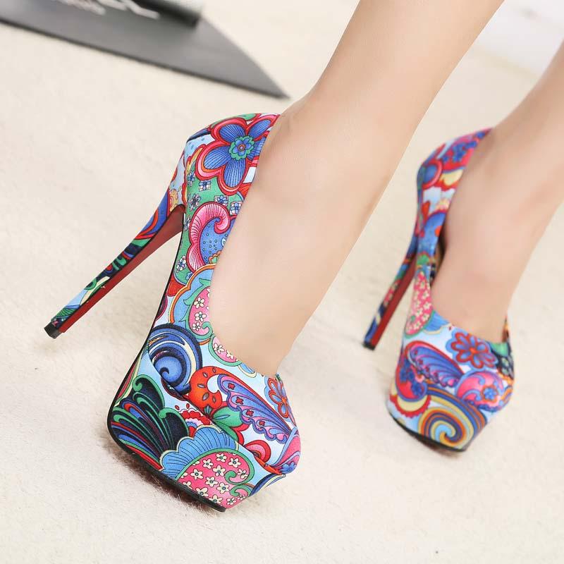 2014 hot sale sexy candy color vintage women pumps platform flower stitching colours canvas ultra high heel shoes women shoes<br><br>Aliexpress